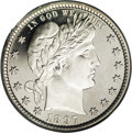 Proof Barber Quarters: , 1897 25C PR64 Deep Cameo PCGS. Thick white frost dominates the devices, and is broken only near Liberty's ear, which is a t...