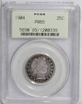 Proof Barber Quarters: , 1904 25C PR65 PCGS. Violet, orange, and blue-gray hues enrich the obverse of this Barber Gem. The reverse is just as colorf...