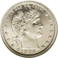 Proof Barber Quarters: , 1904 25C PR66 Cameo NGC. A white-on-black beauty with radiant, snowy devices and refreshingly unperturbed fields. The third...
