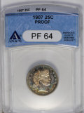 Proof Barber Quarters: , 1907 25C PR64 ANACS. The somewhat staid champagne-toned reverse is a suitable counterpart to the variegated obverse with vi...
