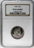 Proof Barber Quarters: , 1909 25C PR65 Cameo NGC. Fully struck with frosted devices and lovely cameo contrast which is more noteworthy on the obvers...