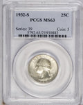 Washington Quarters: , 1932-S 25C MS63 PCGS. Only 408,000 pieces were minted of thisissue, making it one of the keys to the series. This example ...