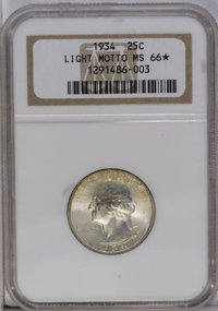 1934 25C Light Motto MS66 ★ NGC. Nicely struck with great luster and traces of gold patina. NGC has certified only two c...