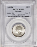 Washington Quarters: , 1935-D 25C MS66 PCGS. Satiny with a nice strike for this issue.Some dark peripheral toning is offset by violet and rose pa...