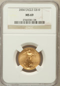 Modern Bullion Coins, 2004 G$10 Quarter-Ounce Gold Eagle MS69 NGC. NGC Census:(2343/1239). PCGS Population (14045/420). Numismedia Wsl. Pricef...