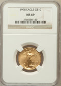 Modern Bullion Coins: , 1998 G$10 Quarter-Ounce Gold Eagle MS69 NGC. NGC Census: (543/18).PCGS Population (691/17). Numismedia Wsl. Price for pro...