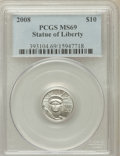Modern Bullion Coins, 2008 $10 Plat 1/10 Oz Statue of Liberty MS69 PCGS. PCGS Population(1808/386). ...