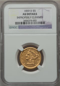 Liberty Half Eagles, 1859-D $5 Medium D -- Improperly Cleaned -- NGC Details. AU.Variety 43-CC (formerly 36-CC)....