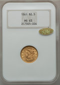 Liberty Quarter Eagles, 1861 $2 1/2 New Reverse, Type Two MS63 NGC. Gold CAC....