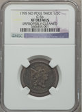 Half Cents, 1795 1/2 C Plain Edge -- Improperly Cleaned -- NGC Details. XF.C-5b, B-5b, R.4....