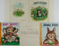 Books:Original Art, [Garth Williams]. Three Preliminary Watercolor Drawings for BabyFarm Animals. Various sizes. [With:] Original Pen...