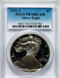 Modern Bullion Coins: , 1991-S $1 Silver Eagle PR70 Deep Cameo PCGS. PCGS Population (428).NGC Census: (509). Mintage: 511,925. Numismedia Wsl. Pr...