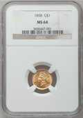 Gold Dollars, 1858 G$1 MS64 NGC....