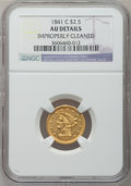 Liberty Quarter Eagles, 1841-C $2 1/2 -- Improperly Cleaned -- NGC Details. AU. Variety1....
