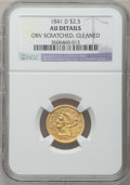 Liberty Quarter Eagles, 1841-D $2 1/2 -- Obverse Scratched, Cleaned -- NGC Details. AU.Variety 2-C....