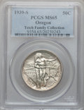 Commemorative Silver: , 1939-S 50C Oregon MS65 PCGS. PCGS Population (381/364). NGC Census:(241/402). Mintage: 3,005. Numismedia Wsl. Price for pr...