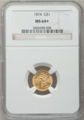 Gold Dollars, 1874 G$1 MS64+ NGC....