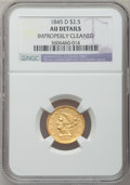 Liberty Quarter Eagles, 1845-D $2 1/2 -- Improperly Cleaned -- NGC Details. AU. Variety 6-J(formerly 6-I)....