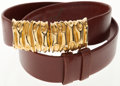 Luxury Accessories:Accessories, Judith Leiber Brown Leather Belt with Gold Closure. ...