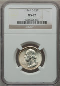 Washington Quarters: , 1941-D 25C MS67 NGC. NGC Census: (99/0). PCGS Population (20/1).Mintage: 16,714,800. Numismedia Wsl. Price for problem fre...