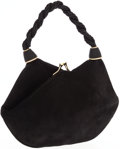 Luxury Accessories:Bags, Salvatore Ferragamo Black Suede Evening Bag with Gold Frame Closure. ...