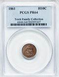 Proof Seated Half Dimes: , 1861 H10C PR64 PCGS. PCGS Population (18/10). NGC Census: (29/36).Mintage: 1,000. Numismedia Wsl. Price for problem free N...