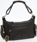 Luxury Accessories:Bags, Tod's Black Leather Shoulder Bag with Zipper Details. ...