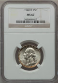 Washington Quarters: , 1940-D 25C MS67 NGC. NGC Census: (44/1). PCGS Population (25/0).Mintage: 2,797,600. Numismedia Wsl. Price for problem free...