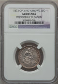 Seated Quarters, 1873 25C Open 3, No Arrows -- Improperly Cleaned -- NGC Details.AU. NGC Census: (2/22). PCGS Population (2/30). Mintage: 1...