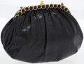 Luxury Accessories:Bags, Judith Leiber Black Lizard Clutch with Black Cabochon Frame. ...