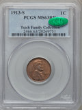 Lincoln Cents: , 1913-S 1C MS63 Red and Brown PCGS. CAC. PCGS Population (84/205).NGC Census: (61/136). Mintage: 6,101,000. Numismedia Wsl....