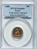 Proof Seated Dimes, 1885 10C PCGS Genuine. Proof. The PCGS number ending in .94suggests altered surfaces as the reason, or perhaps one of the ...