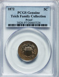 Proof Shield Nickels, 1872 5C Proof PCGS Genuine. The PCGS number ending in .97 suggestsenvironmental damage as the reason, or perhaps one o...