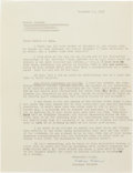 Books:Literature 1900-up, Vladimir Nabokov. Typed Letter Signed. [N.p.], December 11, 1958.On plain white typing paper. Approximately 11 x 8.5 inches...