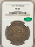 Commemorative Silver: , 1900 $1 Lafayette Dollar MS61 NGC. CAC. NGC Census: (177/1975).PCGS Population (102/2510). Mintage: 36,026. Numismedia Wsl...
