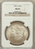 Morgan Dollars: , 1892-O $1 MS64 NGC. NGC Census: (1398/74). PCGS Population(1884/162). Mintage: 2,744,000. Numismedia Wsl. Price for proble...