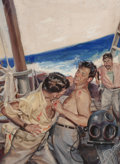 Pulp, Pulp-like, Digests, and Paperback Art, CECIL CALVERT BEALL (American, 1892-1967). Brawl at Sea,probable men's magazine illustration, circa 1950s. Watercolor,...