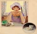 Mainstream Illustration, EDWARD VINCENT BREWER (American, 1883-1971). A Morning Thought,Cream of Wheat advertisement, 1924. Oil on canvas. 22 x ...