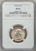 Washington Quarters: , 1935-D 25C MS65 NGC. NGC Census: (267/112). PCGS Population(404/190). Mintage: 5,780,000. Numismedia Wsl. Price for proble...