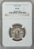 Standing Liberty Quarters: , 1923-S 25C VF25 NGC. NGC Census: (25/387). PCGS Population(43/801). Mintage: 1,360,000. Numismedia Wsl. Price for problem ...