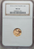 Commemorative Gold, 1915-S G$1 Panama-Pacific Gold Dollar MS66 NGC....