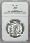 Walking Liberty Half Dollars: , 1941-S 50C MS65 NGC. NGC Census: (917/219). PCGS Population(2221/444). Mintage: 8,098,000. Numismedia Wsl. Price for probl...