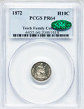 Proof Seated Half Dimes: , 1872 H10C PR64 PCGS. CAC. PCGS Population (43/28). NGC Census:(57/40). Mintage: 950. Numismedia Wsl. Price for problem fre...