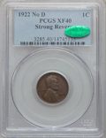Lincoln Cents, 1922 No D 1C Strong Reverse XF40 PCGS. CAC. FS-401....
