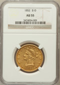 Liberty Eagles: , 1852 $10 AU55 NGC. NGC Census: (135/142). PCGS Population (18/26).Mintage: 263,106. Numismedia Wsl. Price for problem free...