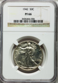 Proof Walking Liberty Half Dollars: , 1942 50C PR66 NGC. NGC Census: (1320/983). PCGS Population(1578/797). Mintage: 21,120. Numismedia Wsl. Price for problem f...