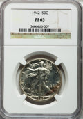 Proof Walking Liberty Half Dollars: , 1942 50C PR65 NGC. NGC Census: (934/2303). PCGS Population(1654/2375). Mintage: 21,120. Numismedia Wsl. Price for problem ...