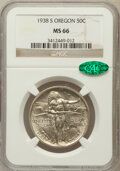 Commemorative Silver: , 1938-S 50C Oregon MS66 NGC. CAC. NGC Census: (497/156). PCGSPopulation (523/136). Mintage: 6,006. Numismedia Wsl. Price fo...