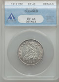 Bust Quarters, 1819 25C Small 9 -- Cleaned -- ANACS. XF45 Details. B-3, R.1....