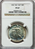 """Proof Walking Liberty Half Dollars, 1941 50C No """"AW"""" PR67 NGC. NGC Census: (417/55). PCGS Population(276/15). Mintage: 15,412. Numismedia Wsl. Price for probl..."""